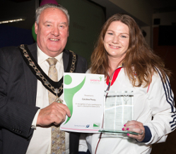Derbyshire Dales 2015 Sportsperson of the Year Caroline Povey with Cllr Tom Donnelly. Photo: www.xciteimages.com