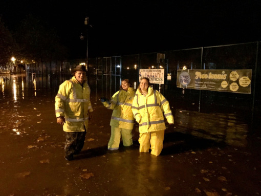 Some of our volunteer staff who have been sandbagging through the night: Robert Wilson, Sally Rose and Helen Dennis pictured in Hall Leys Park