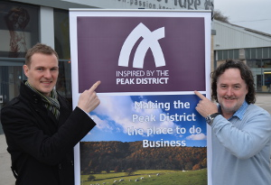 Peak Engineers MD Chris Simm (left) the 100th business to sign up to the 'Inspired by the Peak District' campaign, with Business Peak District chair Jim Harrison