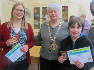 Wirksworth winners Camilla Veitch and Joe Bellingall with from Town Mayor Alison Clamp