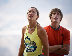 Climbers James Pearson and Caroline Ciavaldini