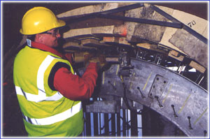 An engineer operating a Rotary Kiln